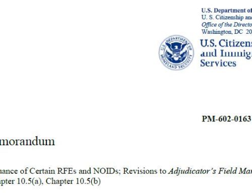 USCIS Updates Its Policy on the Issuance of RFEs and NOIDs